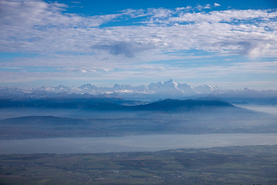 The Alps (and the massif du Mt Blanc) from the Jura