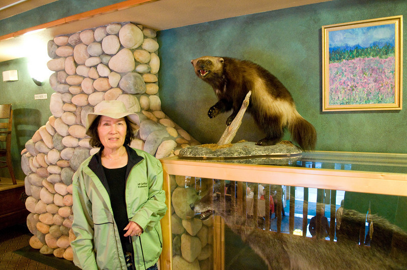 At our hotel in Fairbanks. Kim poses with a distant relative.