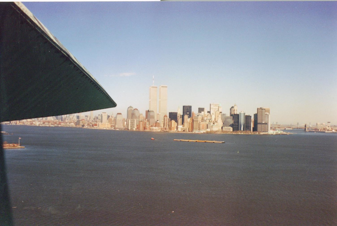 View looking from the crown of the Statue of Liberty toward Twin Towers and Manhatten Island.
