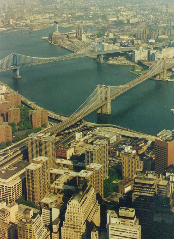 The Brooklyn Bridge from atop the World Trade Center.