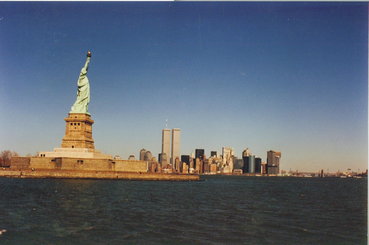 Statue of Liberty and Twin Towers.