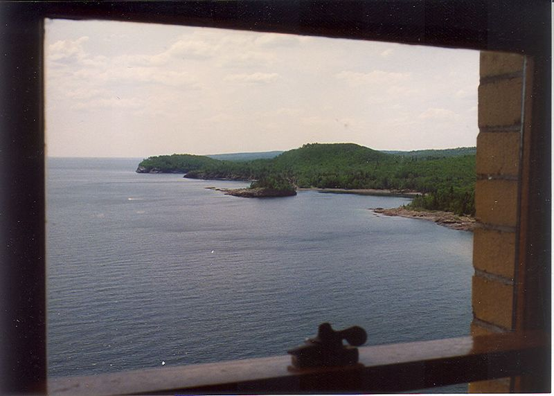View out Split Rock Lighthouse window.