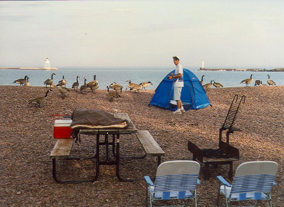 Camping on Lake Superior near Beaver Bay, Minnesota.