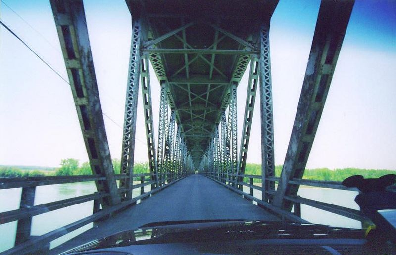 Crossing the bridge from Yankton, SD into Nebraska.