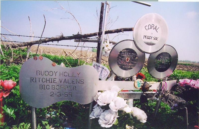 This is the memorial at the plane crash site.  It is located along a field one-half mile from the nearest road.