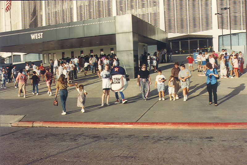 Marty and Mascot outside Houston Astrodome.