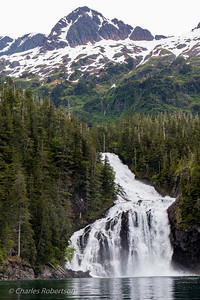 The lower part of Cascade Falls (upper falls near the summit). This is the largest waterfall on Prince William Sound.