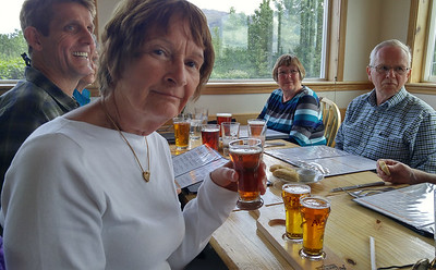 Sampling Alaska brews at a restaurant in Healy.