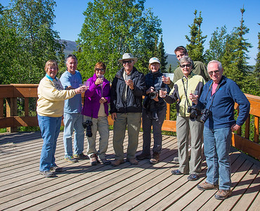 Our group aving a champagne toast at the Arctic Circle Wayside.