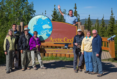 Our group celebrating the Arctic Circle crossing with a champagne toast.