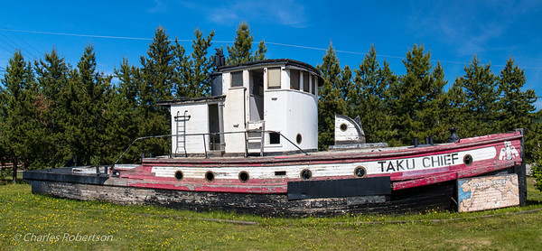 Next to the visitor center at Nenana, this is the last commercial wooden tug boat that supplied the villages along the nearby Tanana River and Yukon River during summers after ice breakup. The Taku Chief began service in 1938.