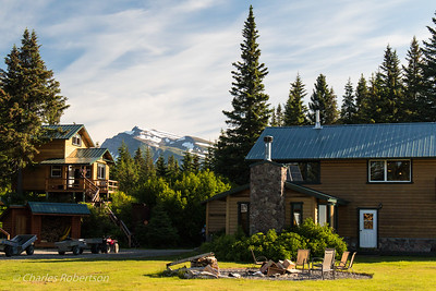 Our main lodge building on the right and one of the separate cabins on the left.
