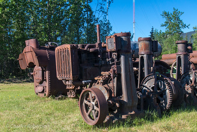Old gold-mining equipment at Wiseman.