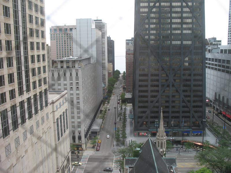 The view from our hotel room. The John Hancock Building, and Lake Michigan in the distance.