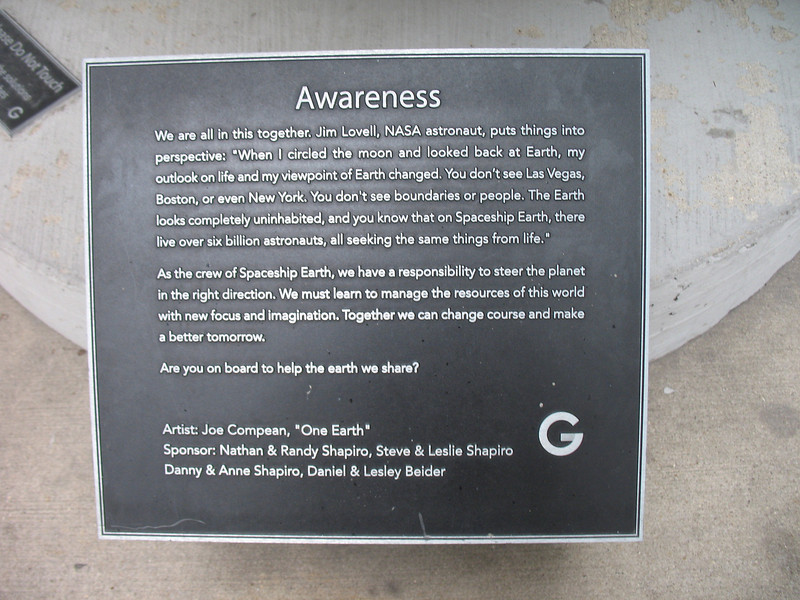 Plaque with the Awareness Globe.