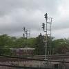 Signal lights on Metra Line tracks, adjacent to Purple Line.