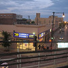 Twilight scene at Howard Station. If you think this looks like a pretty tough area, you're right. Howard Station is where riders switch from Red Line trains to Purple Line, and vice versa.