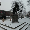 Advance a couple of days ... it got a lot colder, and it started to snow. This is the statue of Abraham Lincoln at Lincoln Square in Chicago.