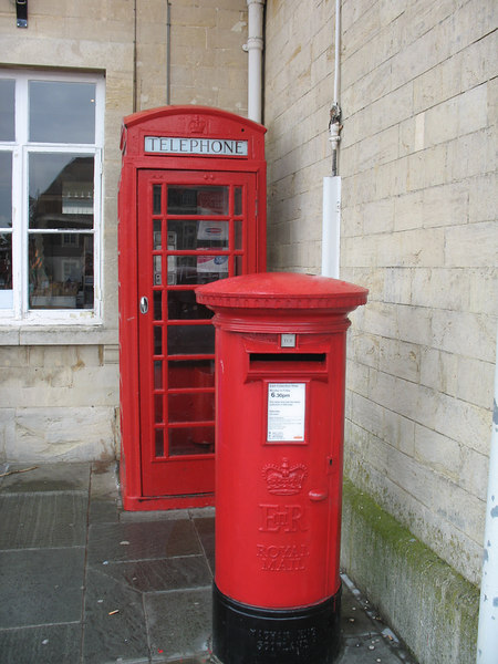 Mailbox, phone booth in Lacock