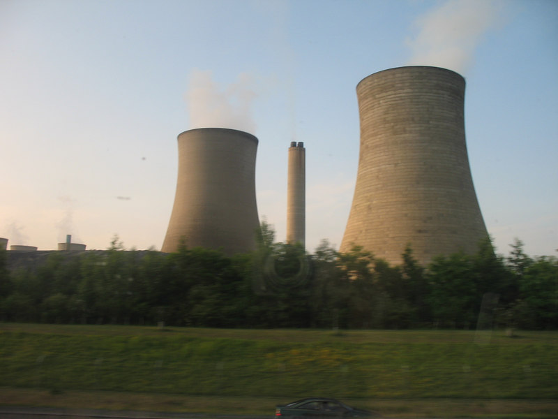 Cooling towers for a power plant.