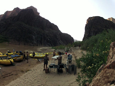Typical camp setup after a long day of rafting