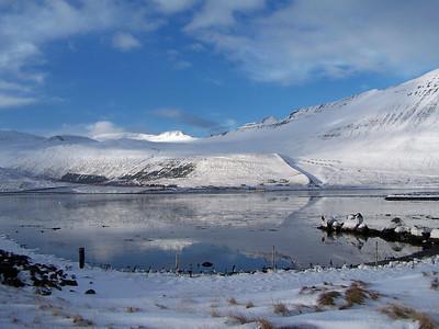 Horft yfir Skutulsfjörðinn yfir að Engidal og Seljalandsdal.