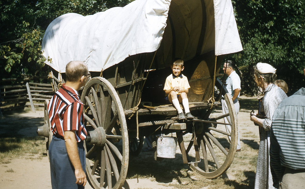 G. A. Shaffer and William A. Shaffer in the Great Smoky Mountains.  I am shown sitting on a Conestoga Wagon.