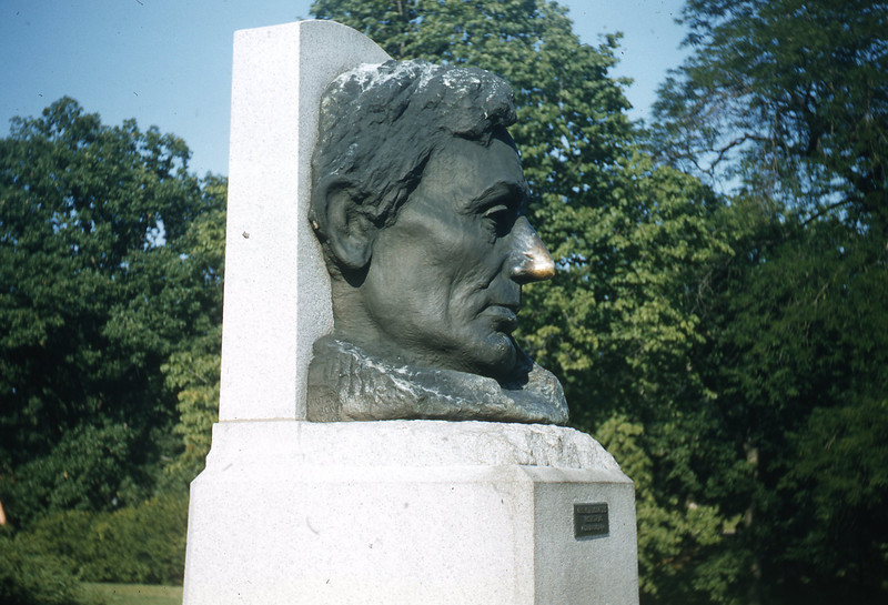 Lincoln Bust located adjacent to the burial tomb of Abraham Lincoln in Springfield, IL.   It is said to bring good luck if you rub Lincoln's nose.