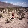 Denise on a rock in the desert south of Boquillas del Carmen