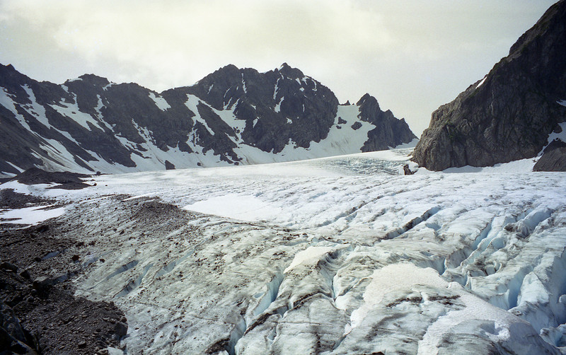 Glacier as it flows down the mountian