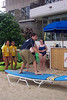 Mike getting surfing lessons at Hans Hedemann school of surfing