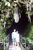 at the entrance to a lava tube - when fast moving lava is cooled at the sides but continues to flow until it is gone