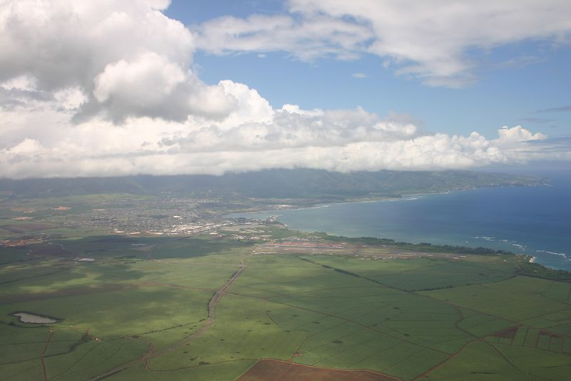 Our first experience of Maui -- view from the air as we approached the airport.  Ryan took the photo.
