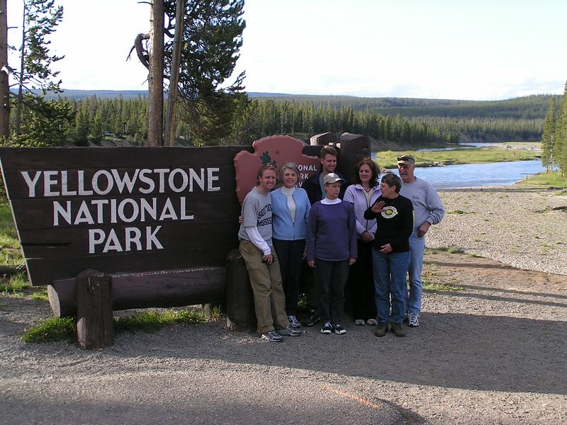 A group evening photo at the south entrance to the park.