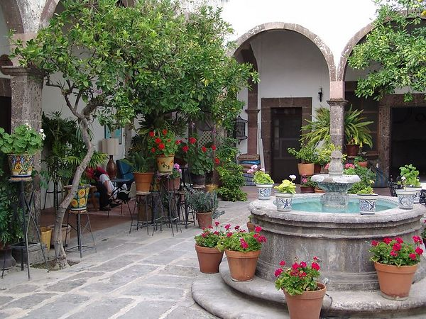 More of our courtyard.  We had a loft sleeping room - very quaint and wonderfully Mexican.