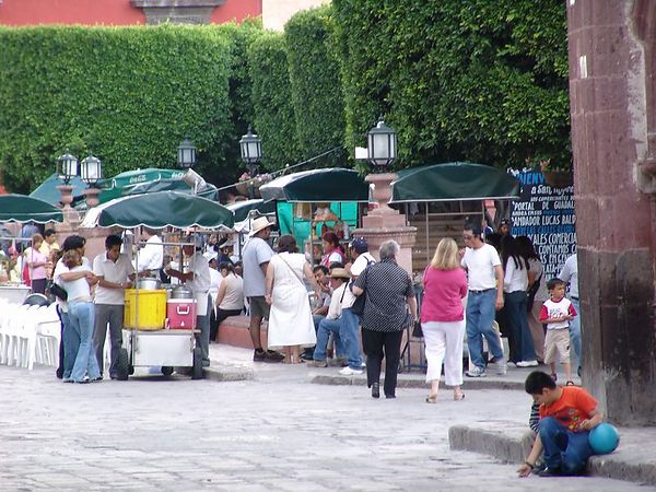 The main 'jardin' in town - central square.  There were singers and dancers on the stage here every night.