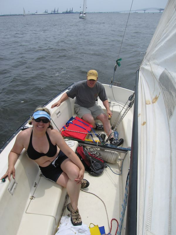"Jen said, ""keep your course"" as she climbed up on the bow - brave girl - but I didn't knock her off"