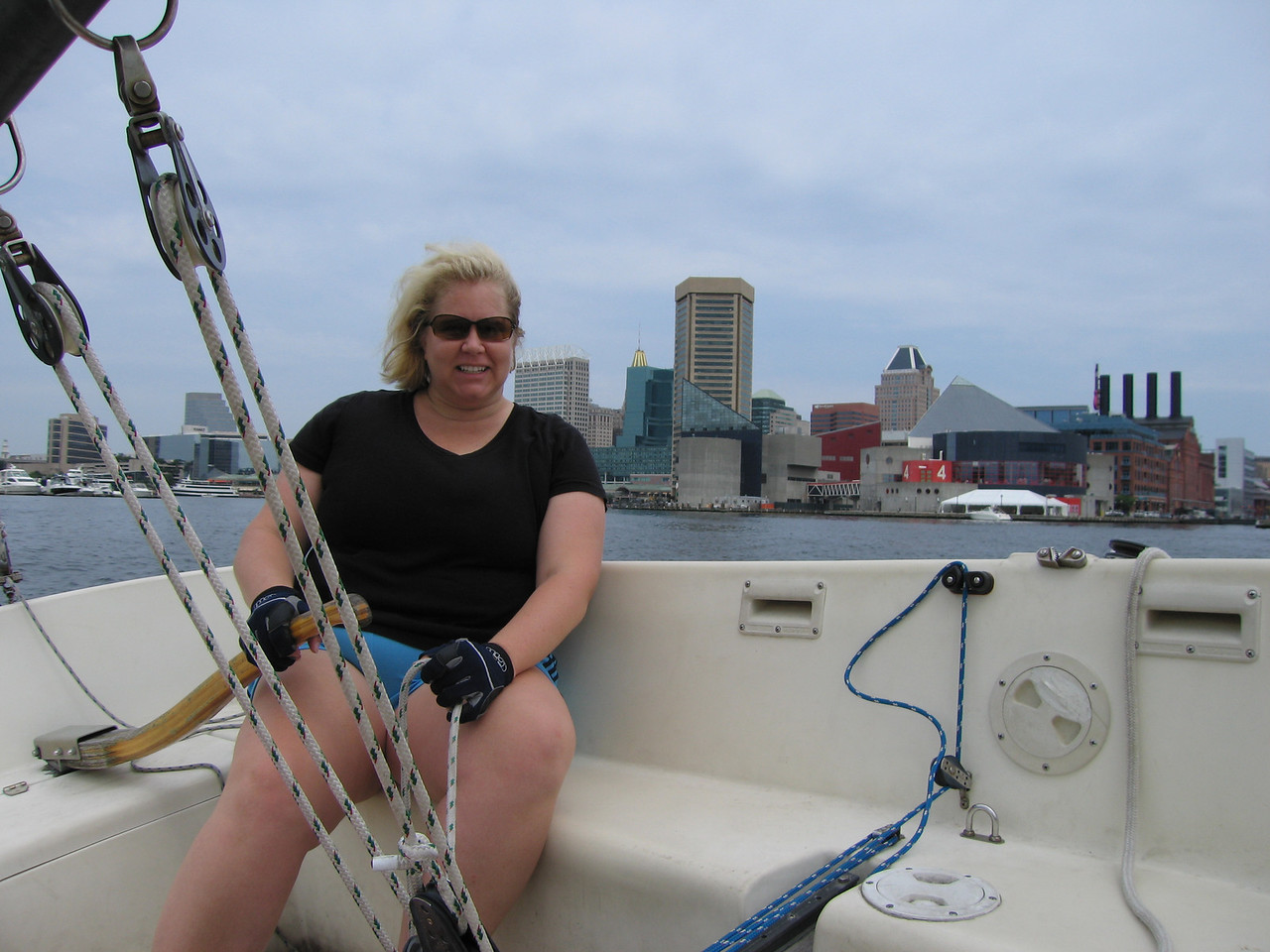 Jen, with Baltimore in the background