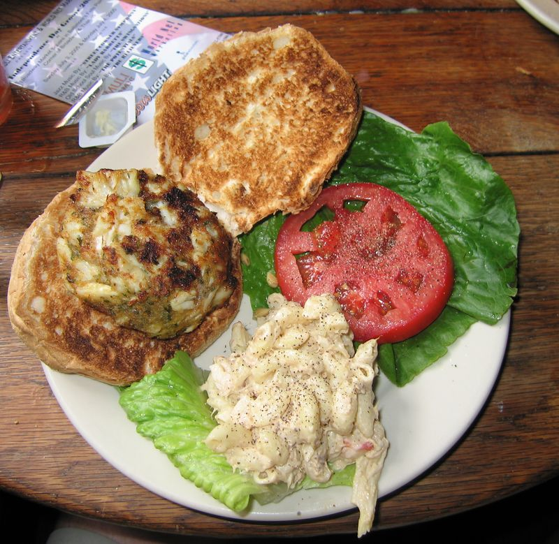 A very fine crab cake sandwich