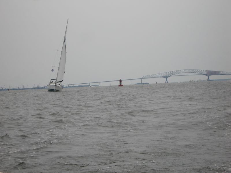 Sail boat and Key Bridge off our stern