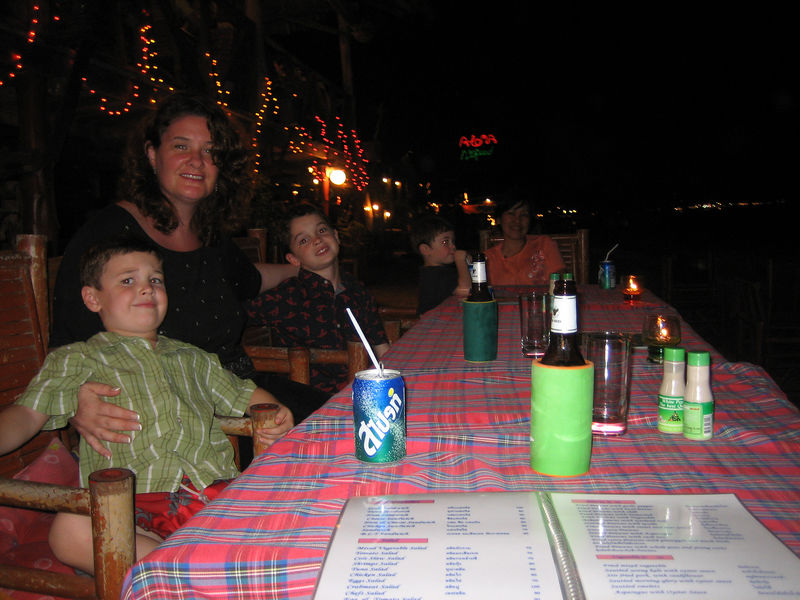 Thai dinner on the beach! (water is 10 feet in front of us.)
