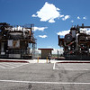 This are two atomix powered airplane engines on test stands in the parking lot of EBR-1