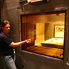 One of the radioatice handeling rooms, or Hot Cells.  She's showing us how deep that crazy window.