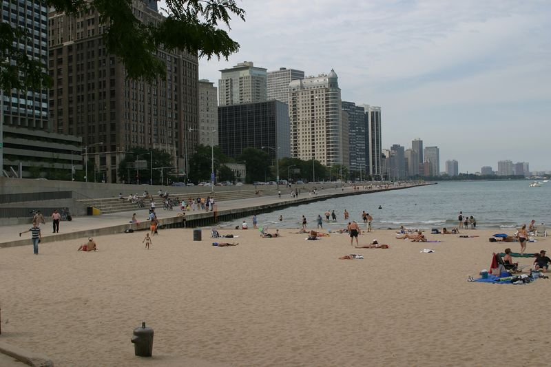 This is the beach off of Lake Michigan near the famous Navy Pier.
