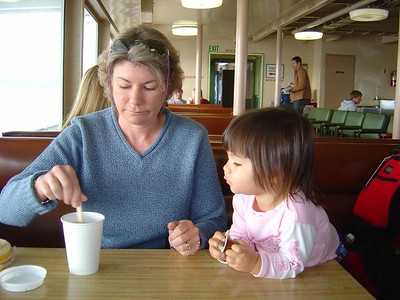 Mommy making a mocha onboard the ferry to Victoria BC.