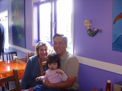 A family shot in the restaurant.