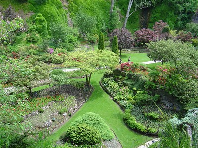 """From above, a view of the """"sunken garden"""""""