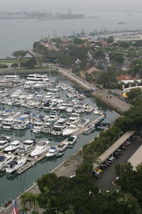 An exclusive yacht club in the harbor.
