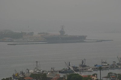 Too bad is was a foggy day. That is the USS Reagan in the distance.