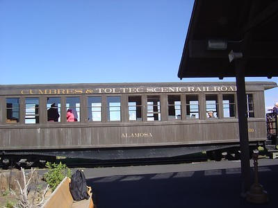 Closeup of one of the passenger cars.
